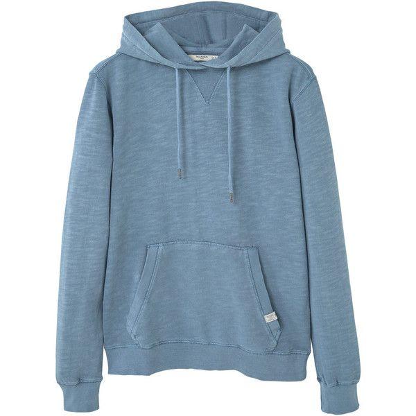 Kangaroo Pocket Hoodie ($32) ❤ liked on Polyvore featuring tops, hoodies, long sleeve hoodie, blue long sleeve top, long sleeve hooded sweatshirt, mango tops and sweatshirt hoodies