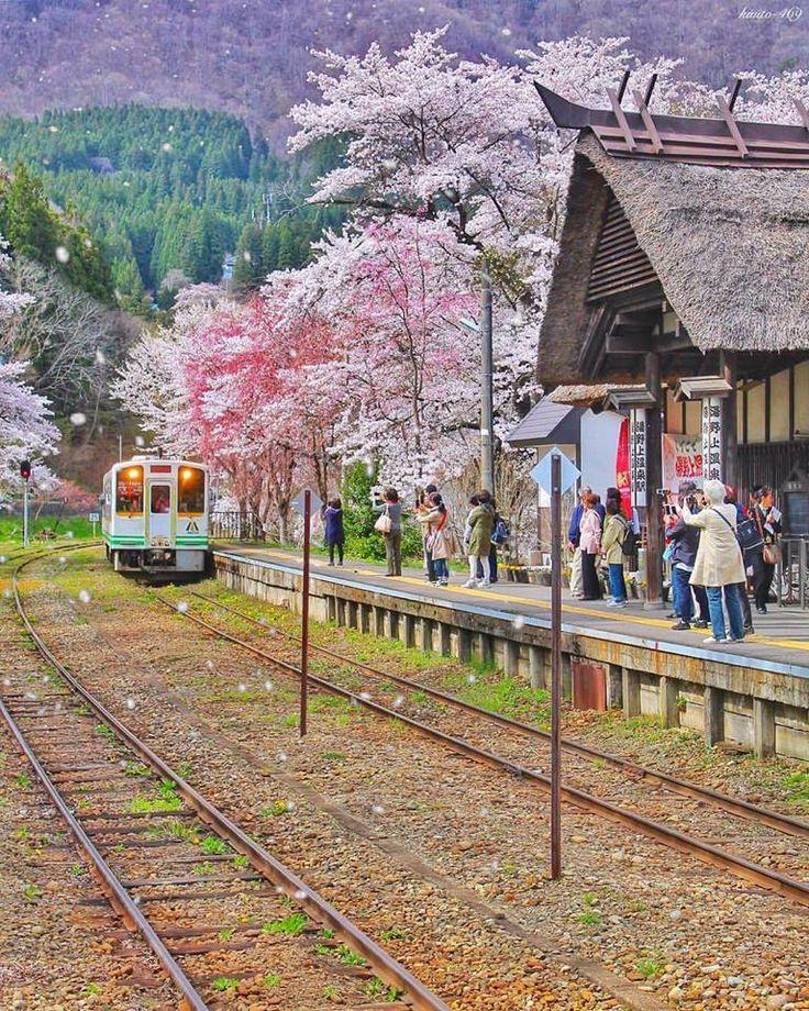 Yunokami-Onsen Station in Fukushima, Japan