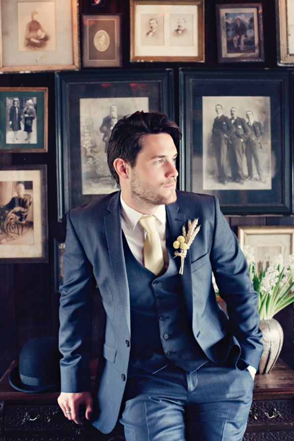 Styish modern groom | Via Man candy: 12 hot grooms being totally adorable at their wedding - Wedding Party