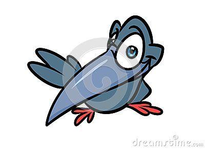 Raven gray bird cartoon illustration isolated image character