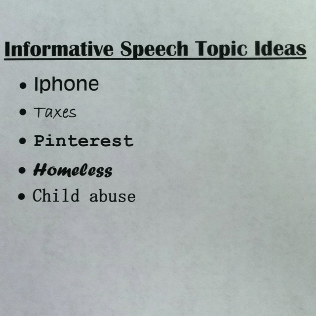 informative speech on m and m s Informative speech essay 855 words | 4 pages type of speech would the speaker choose well chapter 13 contents the creative process for informative speaking.