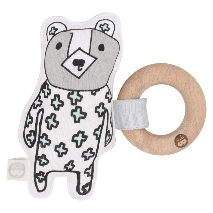 Billie Kiplet Organic Cotton Rattle Teether Toy BILLIE KIPLET. Printed with water based ink, with detachable beech teether ring.