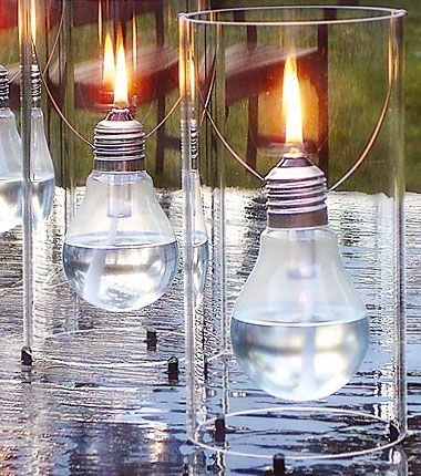 Recycle light bulbs as oil lamps.