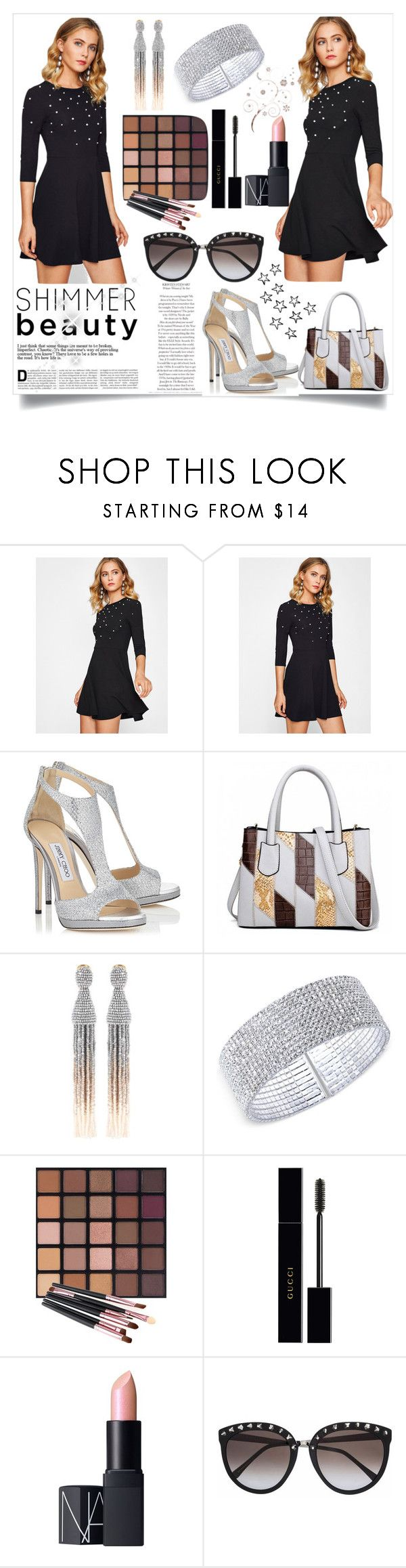 """""""Wonderfully!! 2"""" by emypoyvore ❤ liked on Polyvore featuring Jimmy Choo, Oscar de la Renta, Anne Klein, Gucci and NARS Cosmetics"""