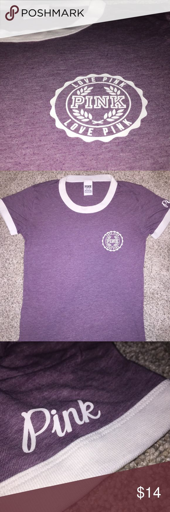 PINK purple short sleeve tee Pink brand purple tee. Like new worn two times. Great condition. BUNDLE AND SAVE PINK Victoria's Secret Tops Tees - Long Sleeve