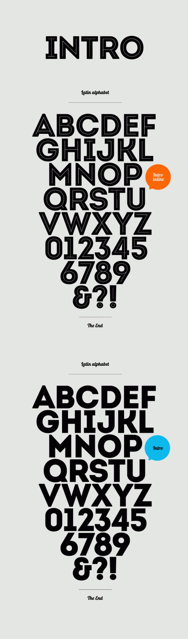 """Free font  Intro by Fontfabric Type Foundry  What distinguishes the new Intro free font from FontFabric is the strongly expressed geometric makeup and structure. The basic letters of the Alphabet like """"A"""", """"O"""" and """"H"""" are built or based on principles of simple geometric forms – triangles, circles and squares.  In contrast to the Futura font which possesses similar styling, the Intro font preserves the characteristic sharpened edges of the """"А"""", """"V"""" and """"W"""" letters even in it's boldened form."""