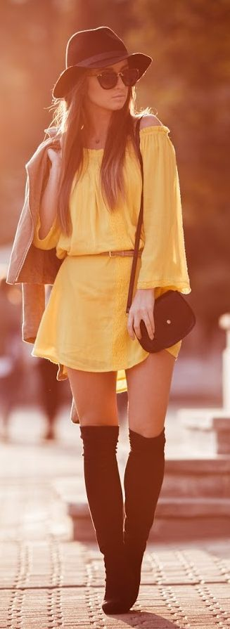 Styloly Yellow Dress Fall Inspo