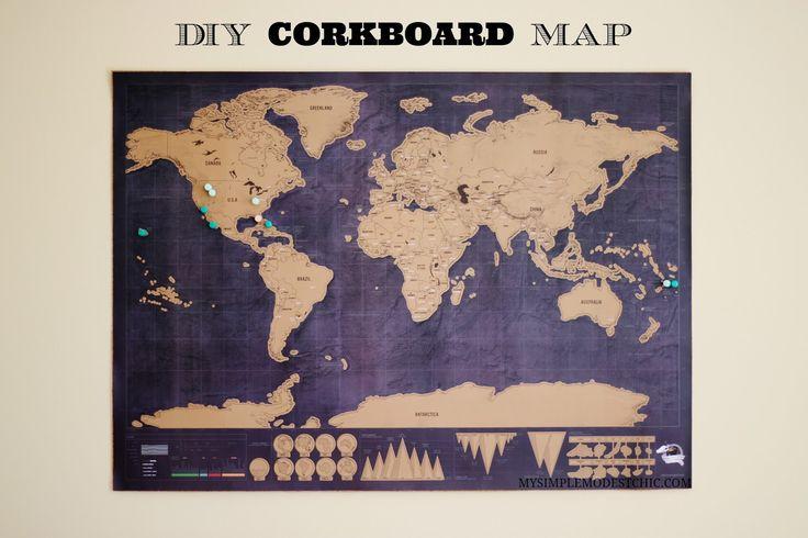 Map, Corkboard, DIY, Tutorial, World , Adventure, Discover