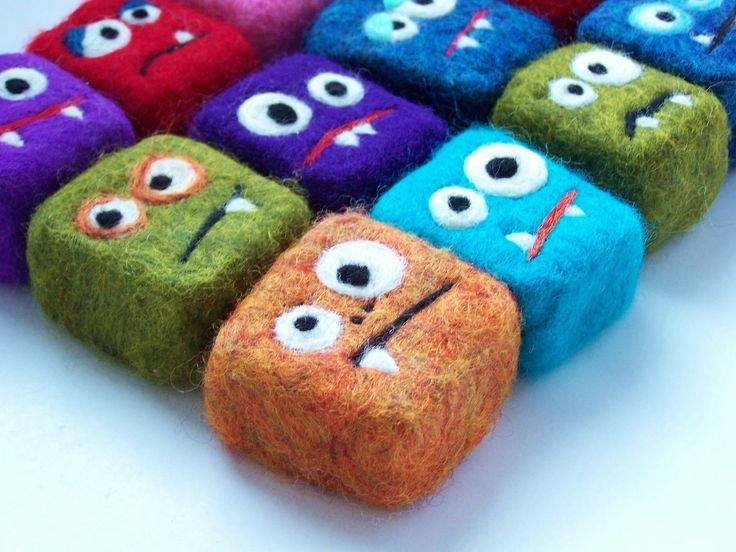 felted soap mini monsters crafts monster party favors felted soap felt monster. Black Bedroom Furniture Sets. Home Design Ideas