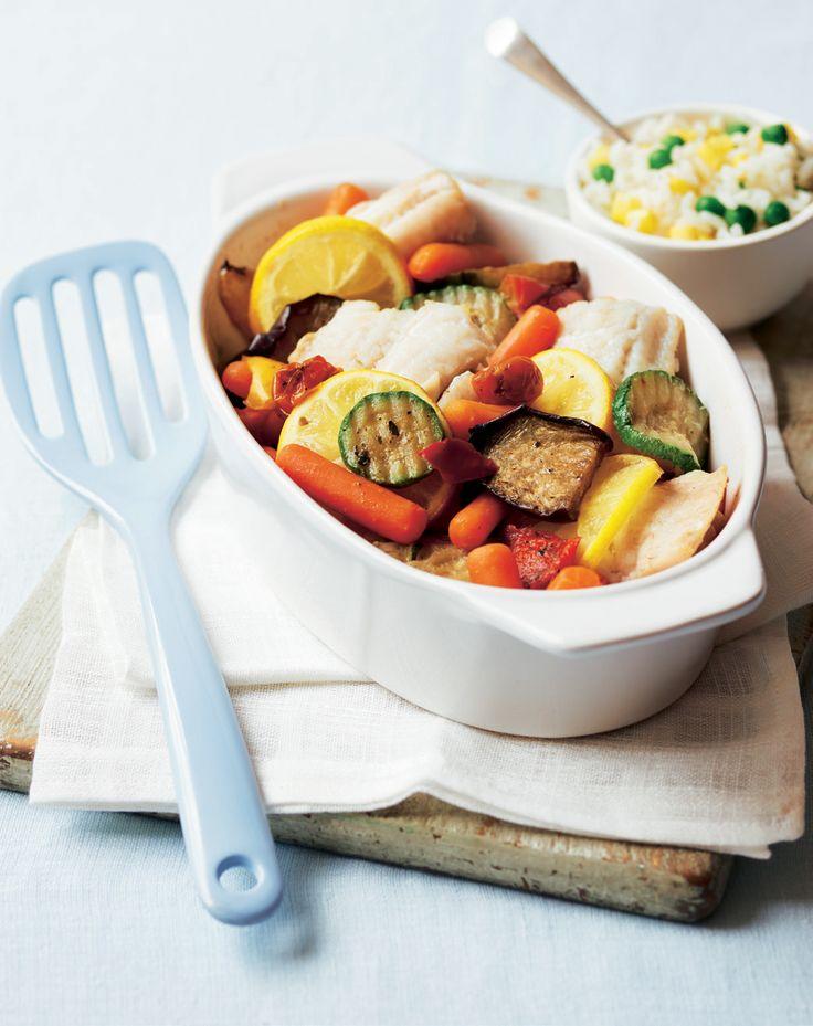 Mediterranean Veg & Fish Bake with Pea & Sweetcorn Rice   Asda Good Living