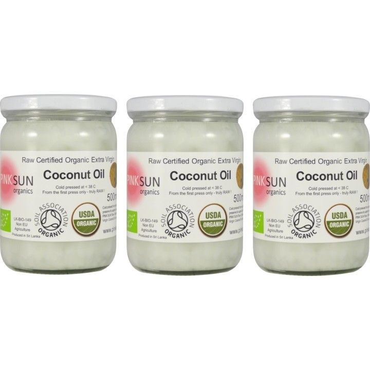 Raw Organic Extra Virgin Coconut Oil - 500ml x3 glass