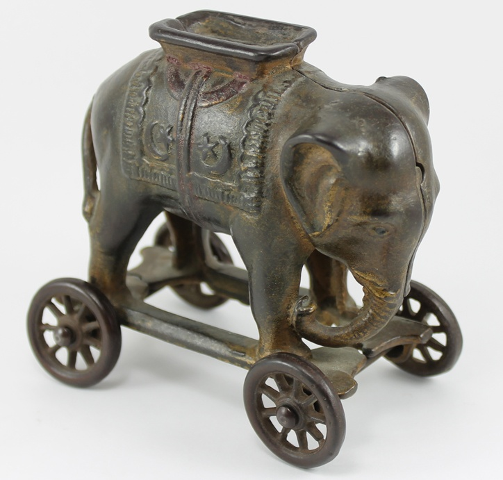 Cast Iron Antique Still Elephant Bank on Wheels