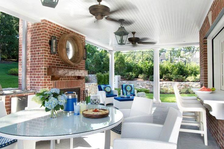 Traci Rhoads Interiors - decks/patios - Trina Turk Super Paradise, patio bar window, outdoor bar window, outdoor white bar stool, outdoor wh...