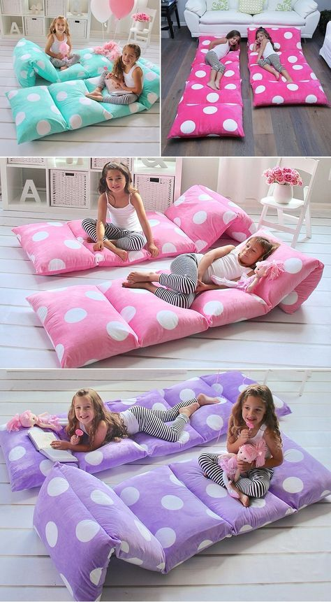 Don't spend a fortune on a portable bed. Sew 5 pillow cases together, insert the pillows and you have a