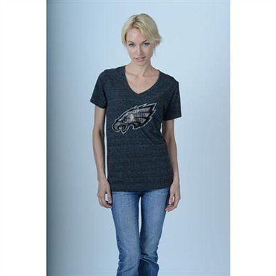 5th & Ocean Philadelphia Eagles Women's Tri-Blend V-Neck T-Shirt