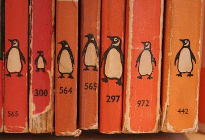 These orange penguin book spines add character to any bookshelf