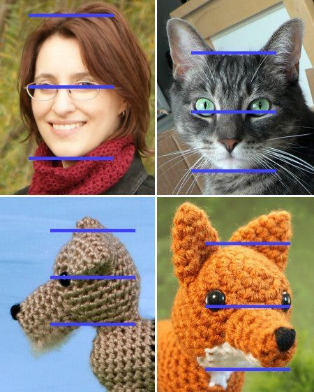 positioning facial features for amigurumi .... you have to scroll down the page a ways to get to it, but it's there. And some other good info on positioning facial features.