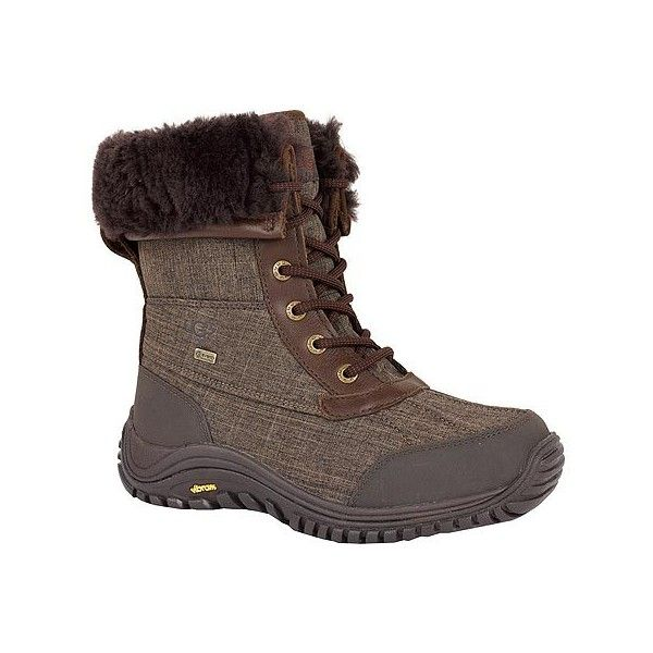 Women's UGG Adirondack Boot II - Stout Textile Casual ($220) ❤ liked on Polyvore featuring shoes, boots, stout textile, water-resistant boots, water proof shoes, tall shoes, waterproof footwear and print boots