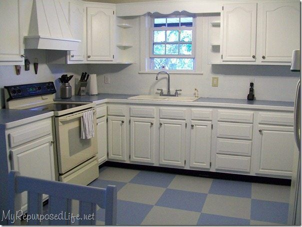 How I Painted My Vinyl Floor Painting Oak Cabinets Kitchen