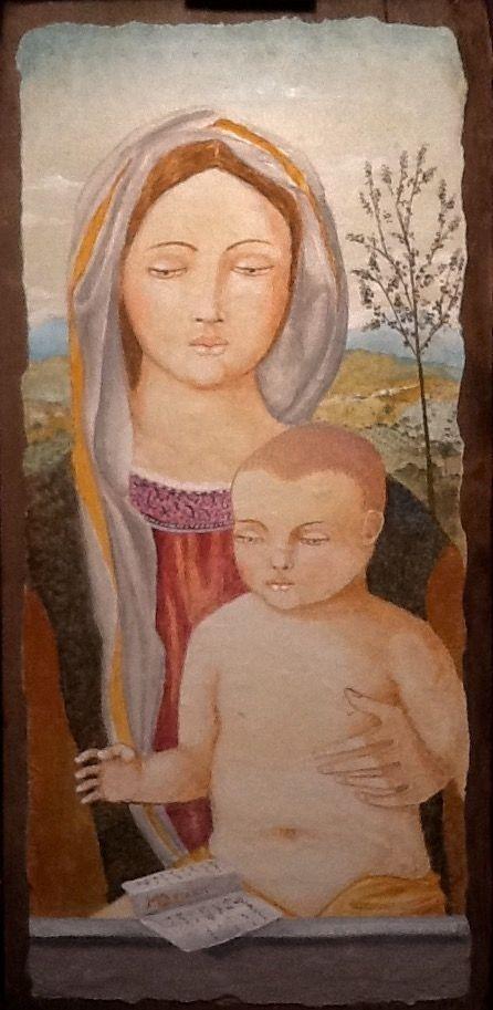 Quadro Madonna con Bambino 6 - cm 29x60 - Affresco su tavola vecchia