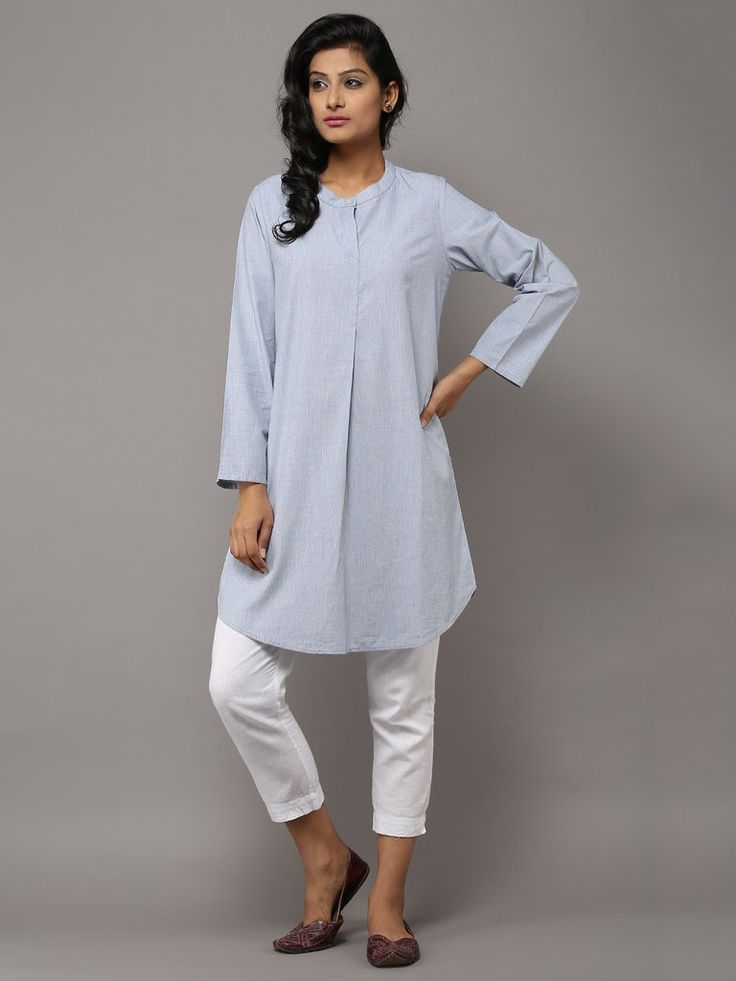 Pale Green Collared Front Pleated Cotton Tunic by the Wooden Closet