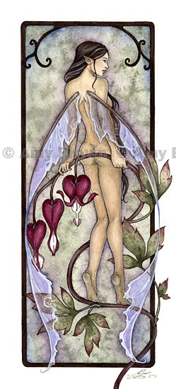 LIMITED EDITION fairy  PRINT Bleeding Hearts by Amy by AmyBrownArt, $10.00