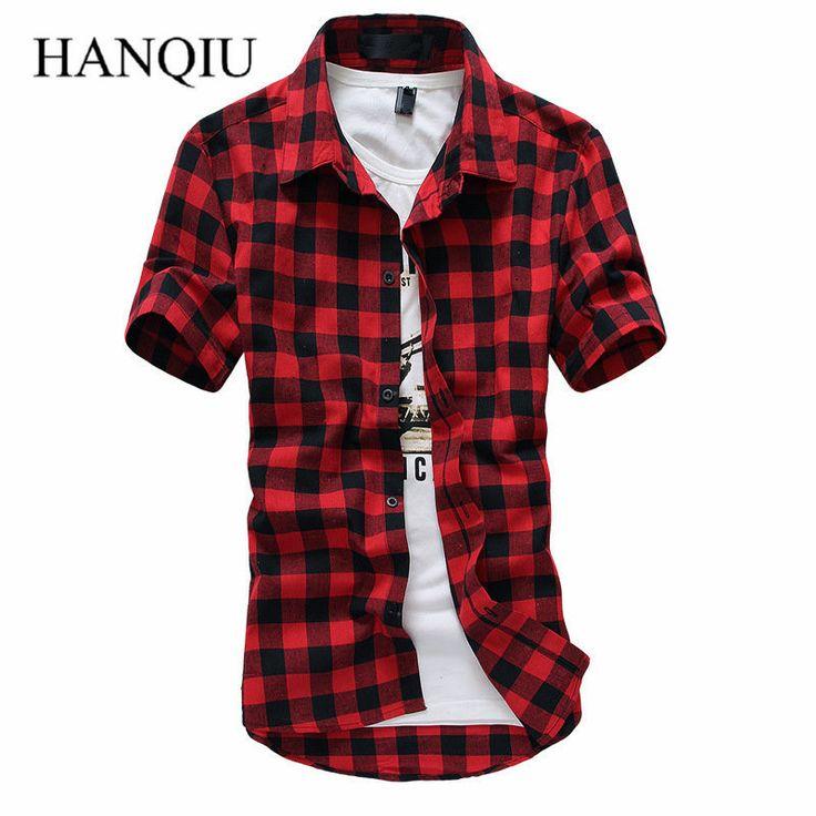 Rosso E Nero Plaid Shirt Uomo Camicie 2017 Nuova Estate Moda primavera Chemise Homme Mens Camice di Vestito Camicia A Maniche Corte uomini