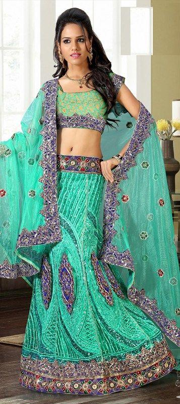 124262, Mehendi & Sangeet Lehenga, Net, Stone, Patch, Border, Machine Embroidery, Green Color Family