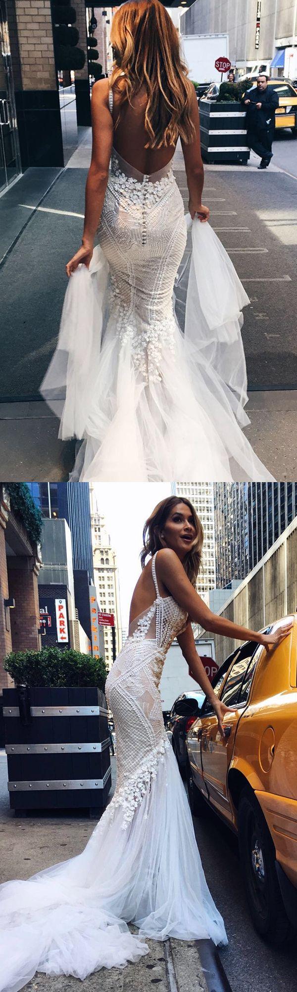 backless wedding dresses, mermaid dream wedding dresses, affordable lace wedding dresses