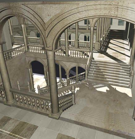 Reconstrucción virtual de la escalera biclaustral del Alcázar de Madrid en el siglo XVI