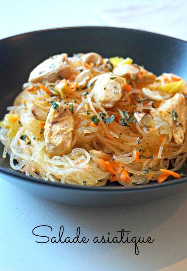 Une recette de salade de pâtes originale, avec cette salade asiatique : vermicelles de soja, poireaux, carottes, noix de cajou et sauce!