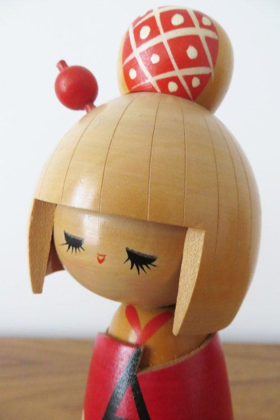 Vintage Japanese Kokeshi Doll with Red Kimono