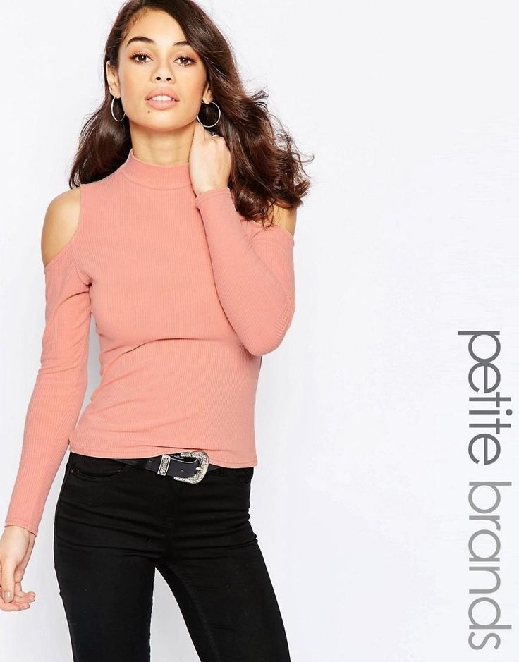 New Look Petite | New Look Petite Rib Cold Shoulder Turtle Neck Top at ASOS