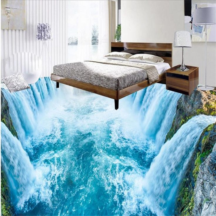 3D Floor Wallpaper Waterfall Carp Bathroom Floor Murals 3D PVC Self-adhesive Wall Sticker Wallpaper Waterproof