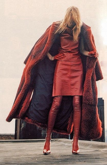 red fur coat & red leather, LOVE This, it's the best, I LOVE red!!!!!