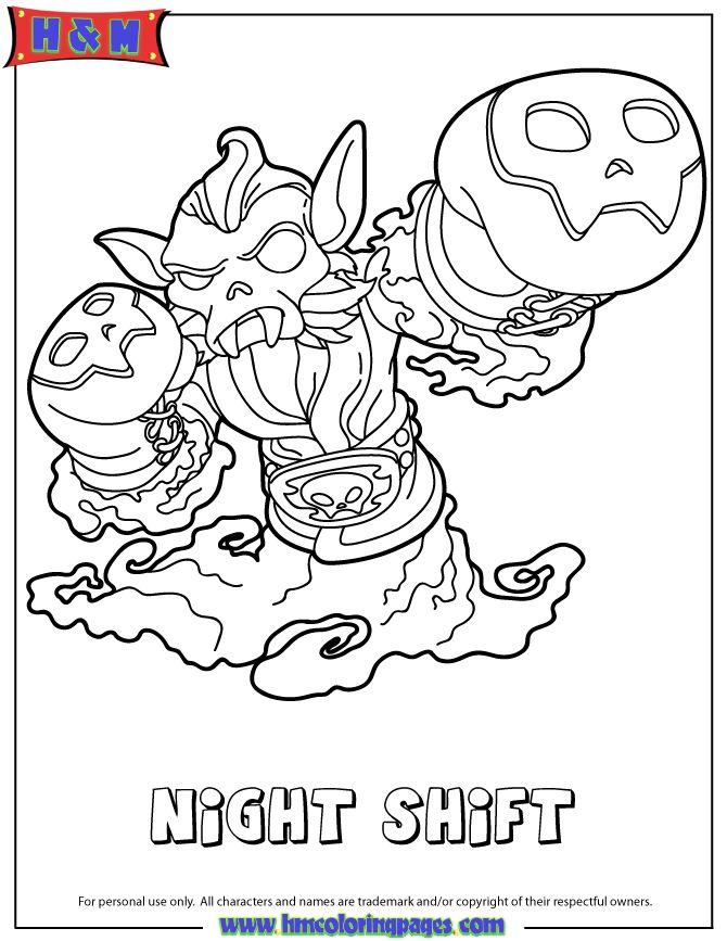 Skylanders Swap Force Undead Night Shift Coloring Page Coloring Pages Coloring Books Skylanders