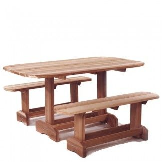 Garden Picnic Tables : Cedar Garden Oval Picnic Table Set -Garden Bench-Potting Bench-Picnic Table-Garden Chair-Wood Garden Furniture-Garden Table-Buy at Cool Point Landing