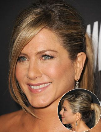 Jennifer Aniston's Dimensional Color. Highlights and Lowlights. Honey caramel and butter. Voluminous Ponytail.