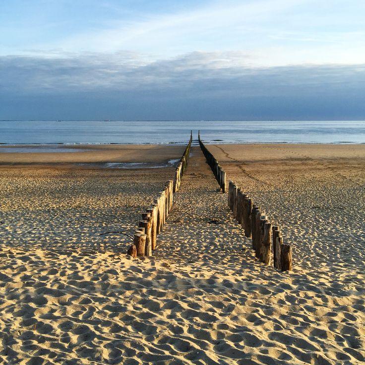 Strand bei Zoutelande in Zeeland / Niederlande, Sonnenuntergang