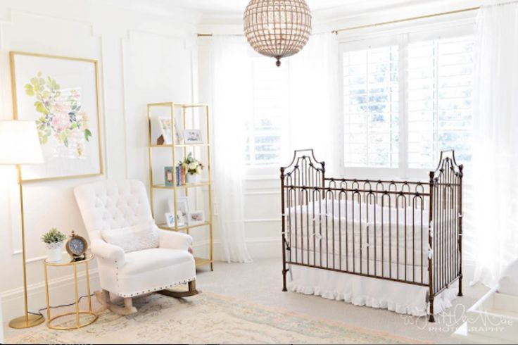 Professional Photographer and #BrattPack mom, Natallee, shares this stunning shot of her baby girl's light filled nursery. Our Parisian 9-in-1 Crib in vintage gold pops against the bright whites of Rosie's nursery. Such a soft, sweet, and stunning little girls nursery!