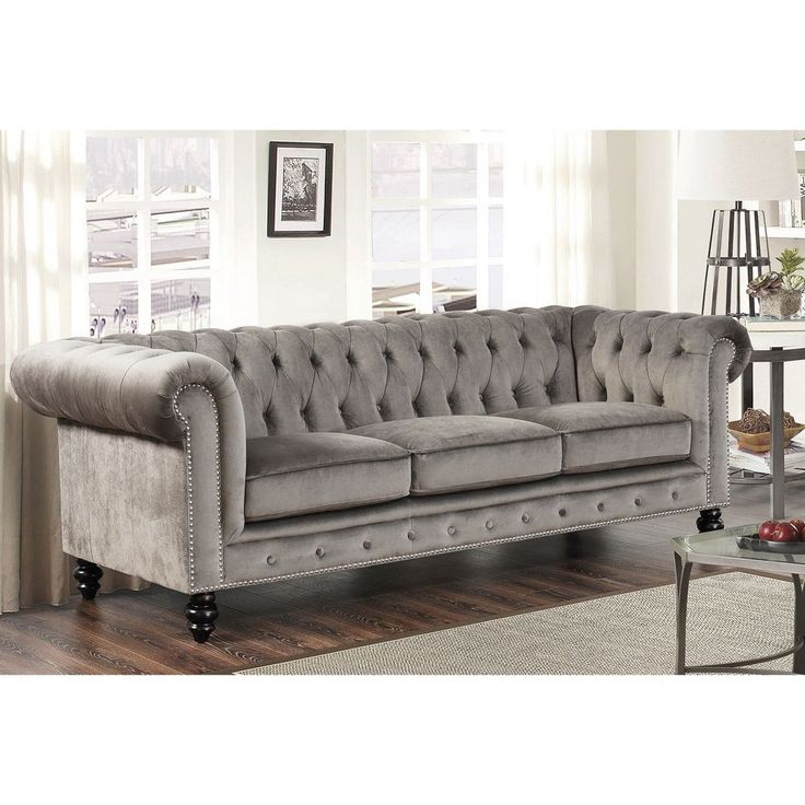 Abbyson Living Grand Chesterfield Grey Velvet Sofa by Abbyson Living