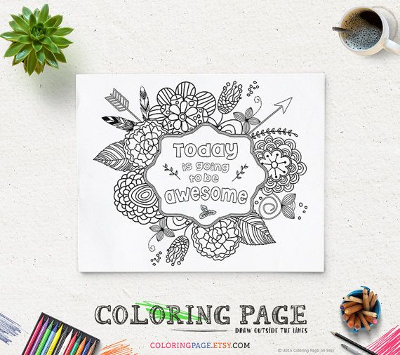 Coloring Page Printable Verse Today Is Going To Be Awesome Instant Download Pages AntiStress
