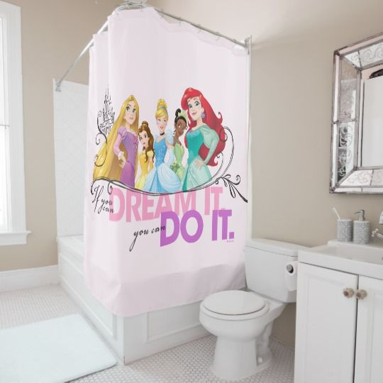 Disney Princess Dare to Dream shower curtain. If you can dream it you can do it. Features Rapunzel, Belle, Cinderella, Tiana and Ariel #Ad