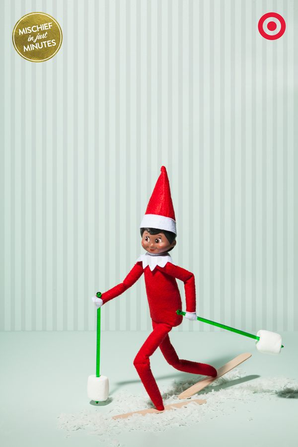 Cross-country skiing can be a brisk, energizing winter exercise. Which might be why our Elf On The Shelf has created his own ski gear out of swizzle sticks, marshmallows and Popsicle sticks. Watch out for the moguls, buddy! Oh wait, it's just a bag of frozen broccoli…