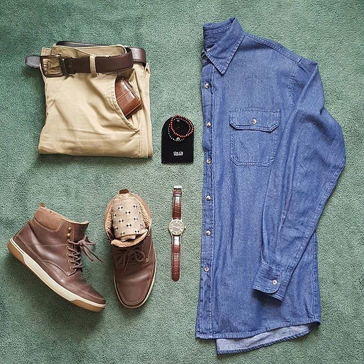 Chambray of the day Awesome layout by @grant_michaels_ love the khaki pants and brown boots with this chambray shirt man! Good look for today's weather as well #menfashion #menstyle #menwear #menswear #men #style #trend #clothing #springwear #springclothes #spring #outfit #outfits #outfitgrid #denim #colors #boots #bluepants #blogger #fashion #fashionstyle #fashionmen #dapper #amsco by votrends
