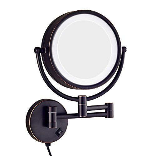Dowry Led Lighted 10x Magnifying Makeup Mirror With Plug 8inch Polished Oil Rubbed Bronze Finished Dowry1809do 8x10
