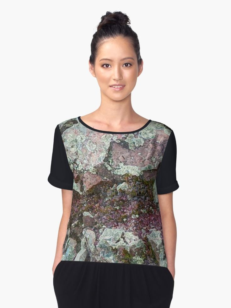 Buy 'I'm Lichen Rocks' Chiffon Top by PolkaDotStudio, new, original #art, #nature #abstract, available  as a T-Shirt, Classic T-Shirt, Tri-blend T-Shirt, Lightweight Hoodie, Women's Fitted Scoop T-Shirt, Women's Fitted V-Neck T-Shirt, Women's Relaxed Fit T-Shirt, or Graphic T-Shirt. Accessories too!