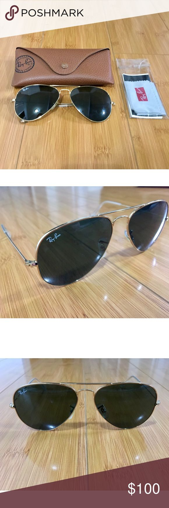 Classic Ray Ban Gold Aviator Sunglasses Brand new, never used. Comes with original case and microfiber cloth. Ray-Ban Accessories Sunglasses