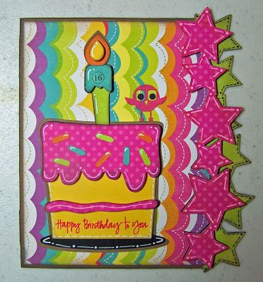 Card base, stars, and cake from Birthday Bash