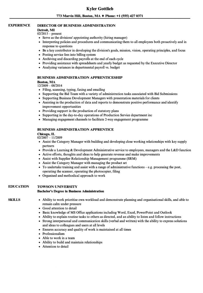 Administration / Business Resume Examples and Writing Tips